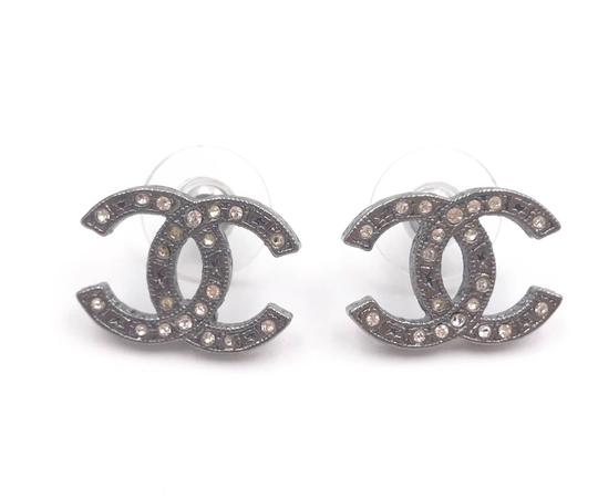 Chanel Chanel Gunmetal CC Crystal Star Pattern Piercing Earrings Image 0