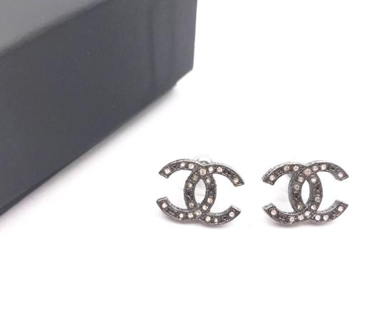 Chanel Chanel Gunmetal CC Crystal Star Pattern Piercing Earrings Image 1