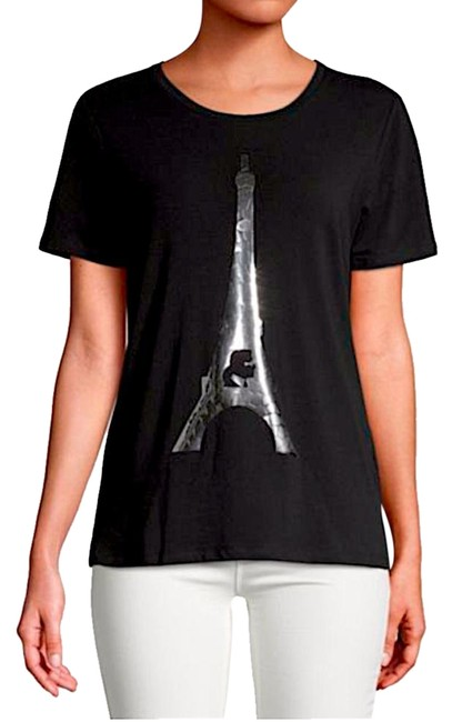 Preload https://img-static.tradesy.com/item/25412088/karl-lagerfeld-blacksilver-with-tag-stretch-cotton-crackle-eiffel-tower-tee-shirt-size-2-xs-0-1-650-650.jpg