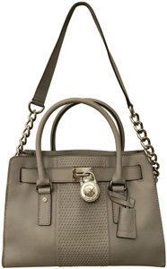 Michael Kors Shoulder Saffiano Leather Light Studs Satchel in Pearl Grey
