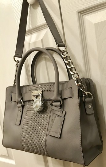 Michael Kors Shoulder Saffiano Leather Light Studs Satchel in Pearl Grey Image 1