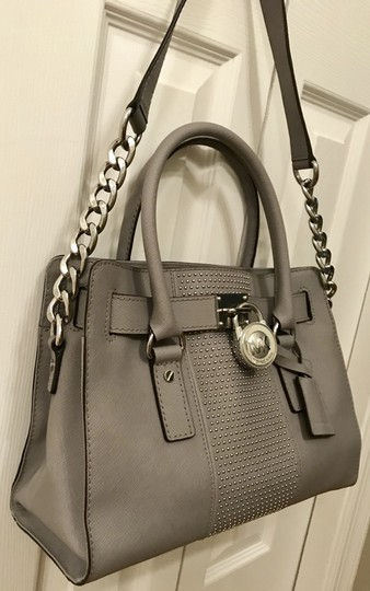 Michael Kors Shoulder Saffiano Leather Light Studs Satchel in Pearl Grey Image 2