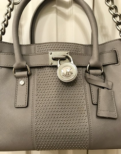 Michael Kors Shoulder Saffiano Leather Light Studs Satchel in Pearl Grey Image 3