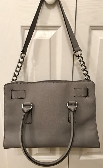 Michael Kors Shoulder Saffiano Leather Light Studs Satchel in Pearl Grey Image 5