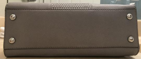 Michael Kors Shoulder Saffiano Leather Light Studs Satchel in Pearl Grey Image 6