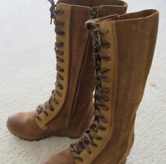 Sorel Wedge Dress Jeans Leather Camel Brown Boots Image 1