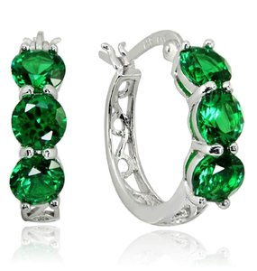 Other THREE STONE ROUND EMERALD GREEN FILIGREE HUGGIE EARRINGS
