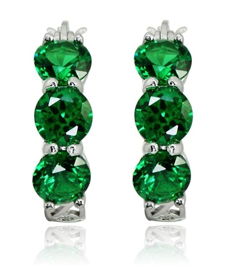 Other THREE STONE ROUND EMERALD GREEN FILIGREE HUGGIE EARRINGS Image 1