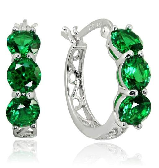 Other THREE STONE ROUND EMERALD GREEN FILIGREE HUGGIE EARRINGS Image 2
