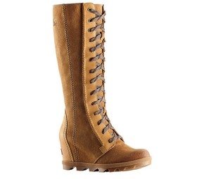 Sorel Wedge Dress Jeans Leather Camel Brown Boots