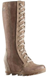 Sorel Wedge Dress Jeans Leather Ash Brown Boots