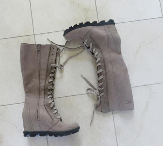 Sorel Wedge Dress Jeans Leather Ash Brown Boots Image 1