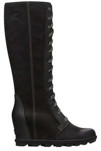 Sorel Wedge Dress Jeans Leather Black Boots