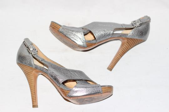Coach Leather High Heels Cocktail Wedding Metallic Silver Sandals Image 1