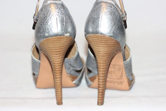 Coach Leather High Heels Cocktail Wedding Metallic Silver Sandals Image 3