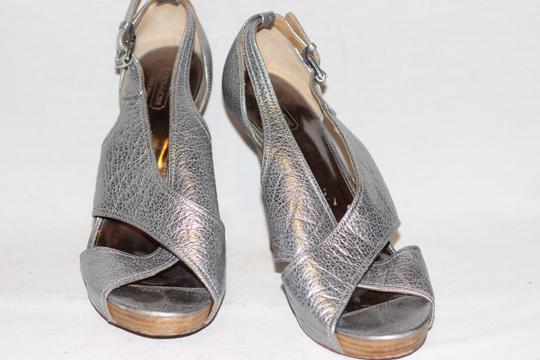 Coach Leather High Heels Cocktail Wedding Metallic Silver Sandals Image 4