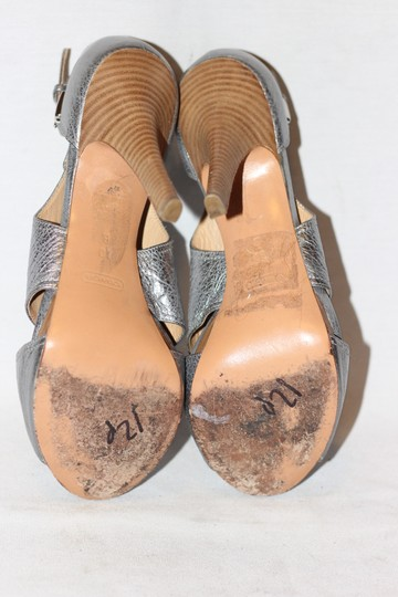 Coach Leather High Heels Cocktail Wedding Metallic Silver Sandals Image 5
