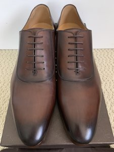 Gucci Brown Burnished Leather Gg Logo Lace Up Dress Shoes