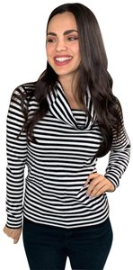 Calvin Klein Cowl Neck Cowl Striped Horizontal Top Black