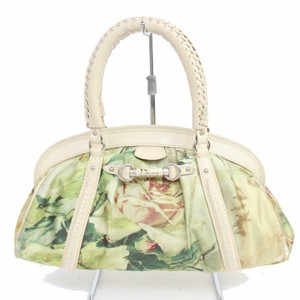 Dior Mint Condition Limited Edition Fabric Chrome Hardware Satchel in pink and green floral print silky canvas and pale pink leather