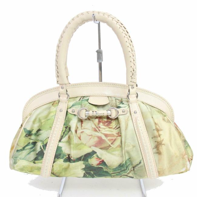 Item - 'limited Edition' Pink and Green Floral Print Silky Canvas and Pale Pink Leather Satchel