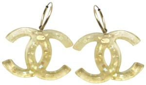 Chanel Chanel Rare Neon Yellow Clear Large CC Piercing Earrings