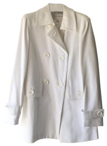 Banana Republic Pique Double Breasted Lined White Jacket