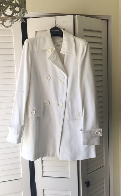 Banana Republic Pique Double Breasted Lined White Jacket Image 1
