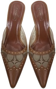 Coach Slides Heels Designer Brown Mules