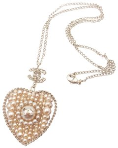 Chanel Chanel Gold Chain CC Faux Pearl Heart Pendant Necklace