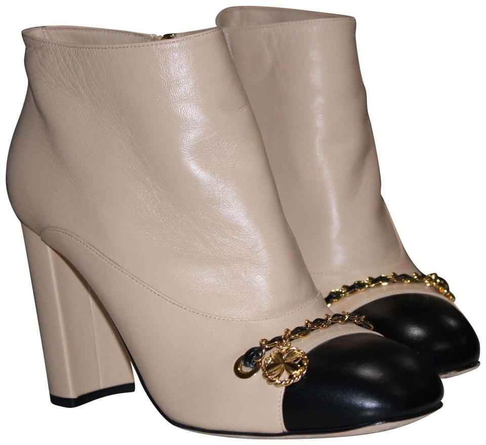 942a3445 Chanel Beige and Black Lambskin Boots/Booties Size EU 40 (Approx. US 10)  Regular (M, B) 58% off retail