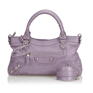 Balenciaga 9dbghb002 Vintage Leather Satchel in Purple