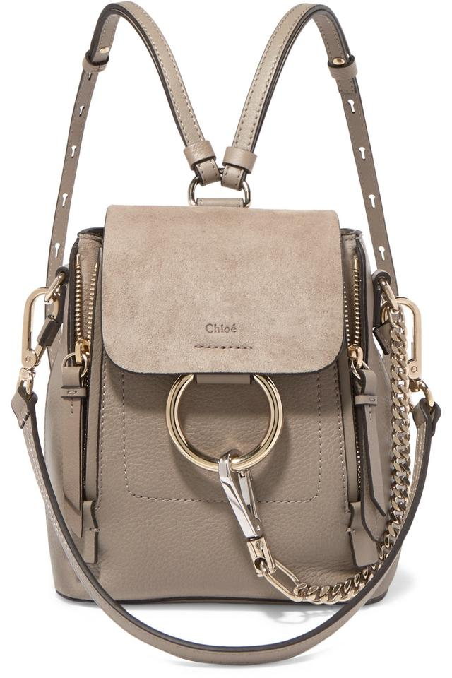 3509910318c Chloé Faye Mini Smooth and Suede Motty Grey Calfskin Leather Backpack