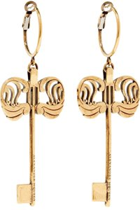 Alexander McQueen Skeleton Key Logo Large Charm Gold Tone Drop Hoop Earrings