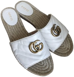 Gucci Leather Gg Espadrille White Sandals