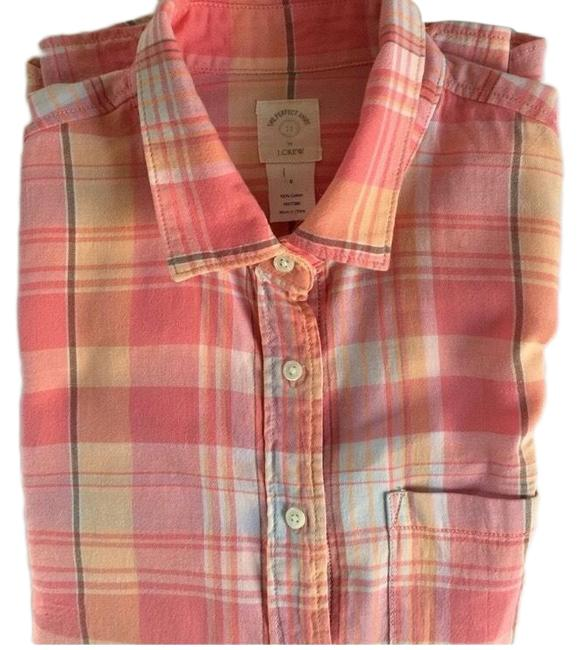 Item - Unworn New Peach Gold Blue/Grey The Perfect Shirt Button-down Top Size 0 (XS)