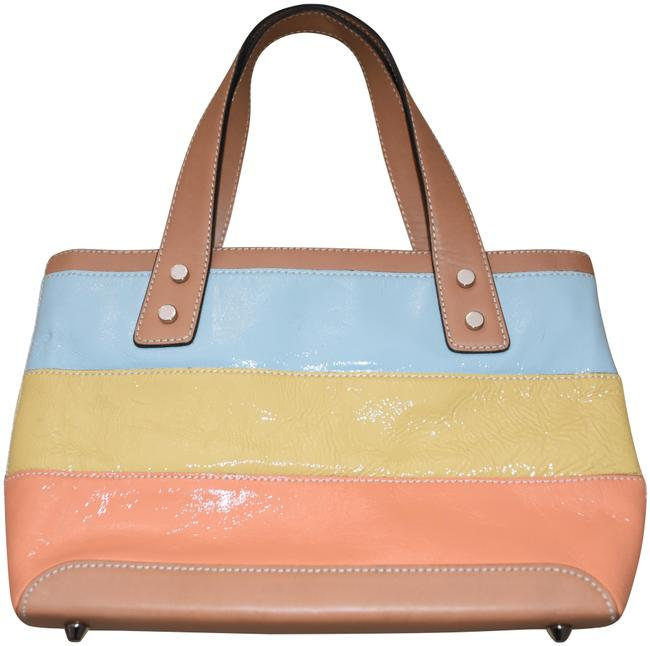Item - Shiny Baby Blue Pale Yellow Gold and Peachy Orange Leather Satchel