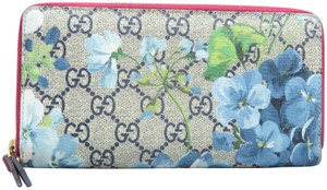 Gucci Gucci Beige&navy Gg Blooms Zip-around Wallet