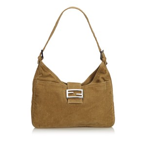 Fendi 9dfnsh046 Vintage Corduroy Fabric Shoulder Bag