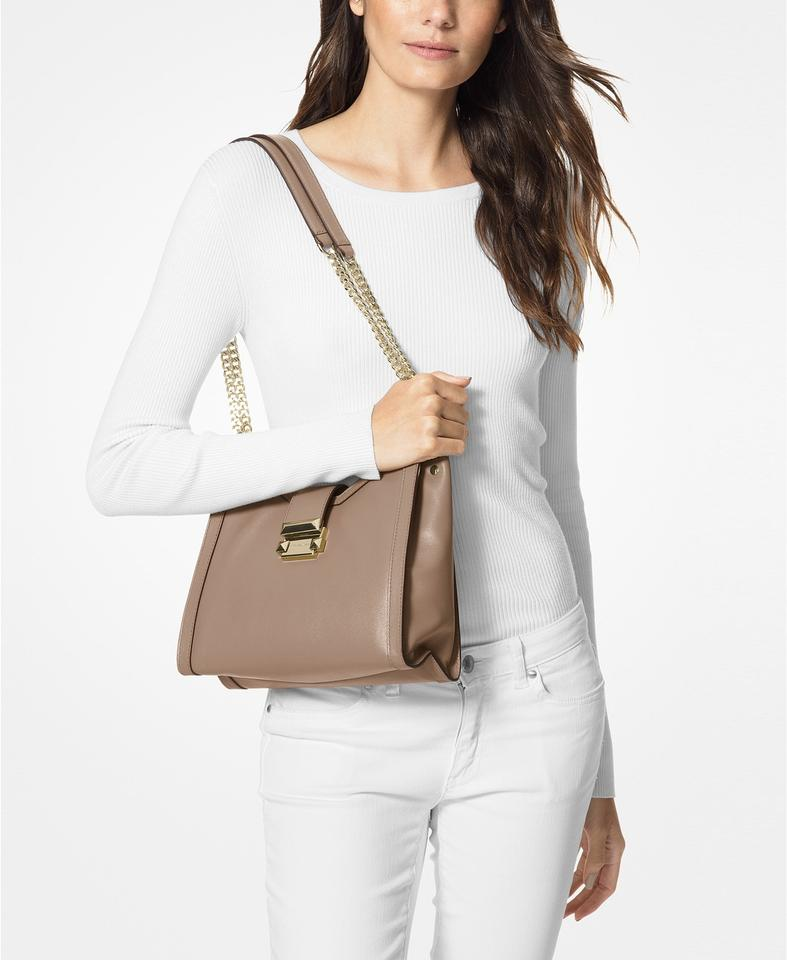 58e652489ca584 Michael Kors Whitney Small Chain Truffle Beige Leather Shoulder Bag ...