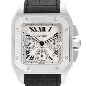 Cartier Cartier Santos 100 XL Silver Dial Black Strap Chronograph Watch W20090