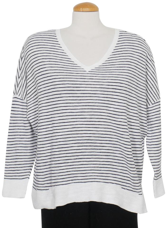 ca56c9999dcf8 Eileen Fisher Box Organic Linen Cotton Stripe M White Midnight Blue Sweater