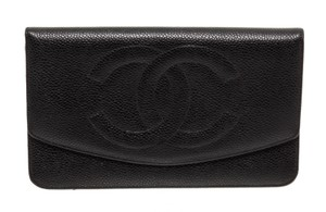 191a7b2fe7c108 Chanel Chanel Black Caviar Leather Envelope Flap Wallet