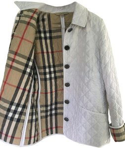 Burberry Quilted Nova Check White Jacket