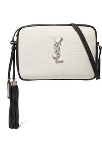 Saint Laurent Lou Raffia Leather Monogram Shoulder Bag