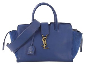 Saint Laurent Leather With Suede Downtown Tote in blue