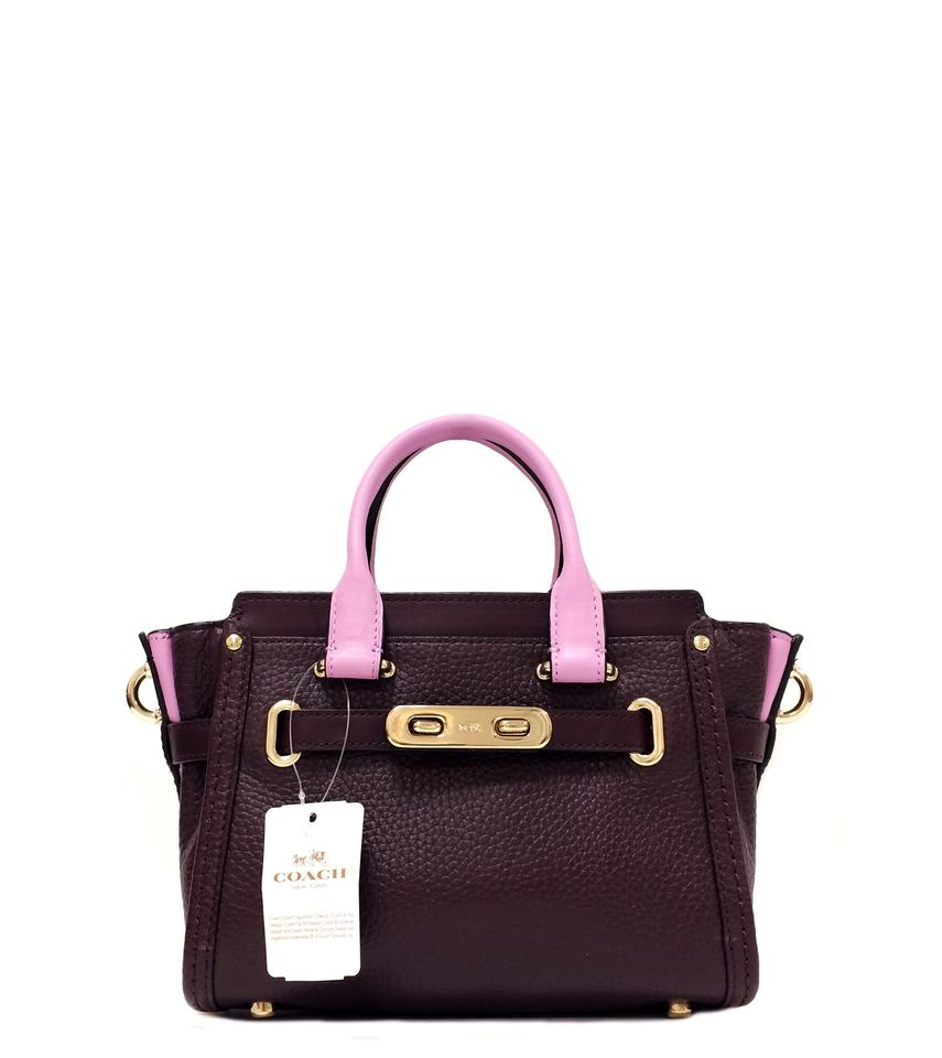 Coach Swagger 35954 Colorblock Oxblood Pebbled Leather Cross Body Bag 38%  off retail