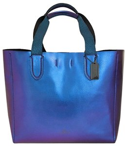 Coach Limited Leather Hologram Tote in Blue Metallic
