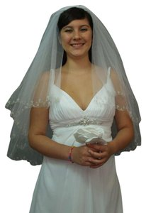 Veil Metallic Embroidered With Clear Beads And Bungle Beads