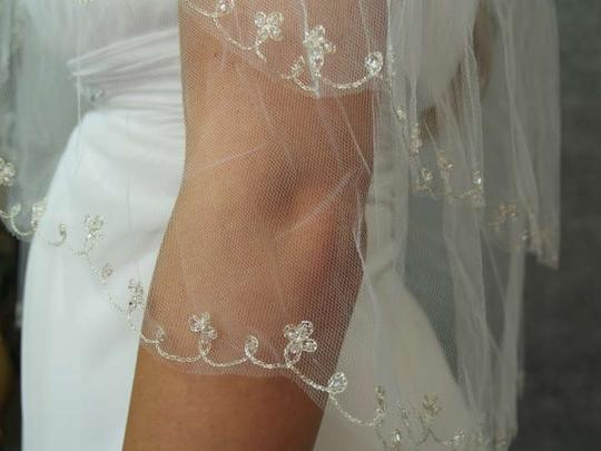 White Medium Metallic Embroidered with Clear Beads and Bungle Beads Bridal Veil